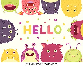 Frame with cute funny inquisitive monsters - Frame with cute...