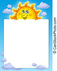 Frame with cute lurking Sun - color illustration.