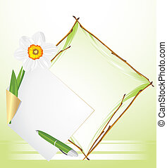 Frame with daffodil. Background