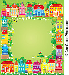Frame with decorative colorful houses. Christmas and New ...