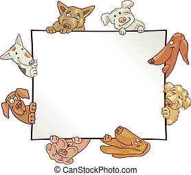 frame with dogs - illustration of empty frame with funny...