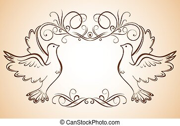 Frame with doves