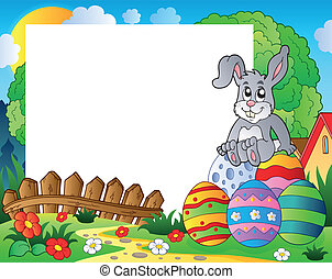 Frame with Easter bunny theme 5 - eps10 vector illustration.