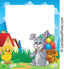 Frame with Easter bunny theme 8 - eps10 vector illustration.
