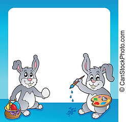 Frame with Easter bunny topic 2