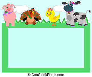 Frame with Farm Animals