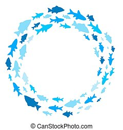 Frame with fishes. - A round frame with sea fishes.