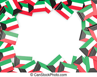 Frame with flag of kuwait isolated on white