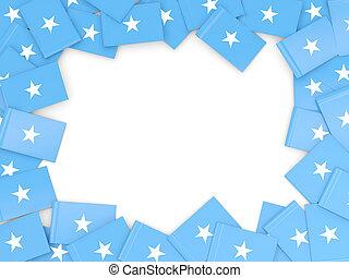 Frame with flag of somalia isolated on white