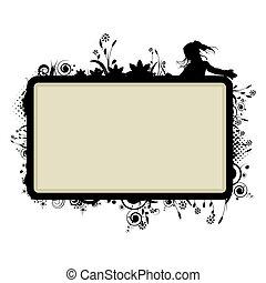 frame with floral vignette