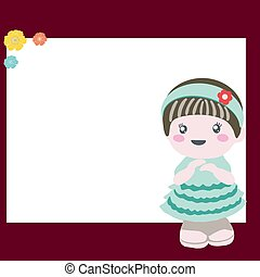 Frame with flower and adorable baby doll.