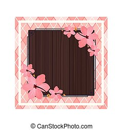 frame with flower of summer on wooden background
