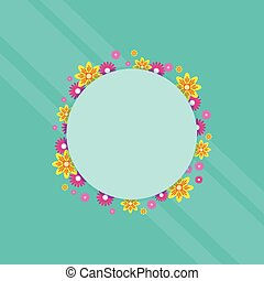 Frame with flower spring theme vector art