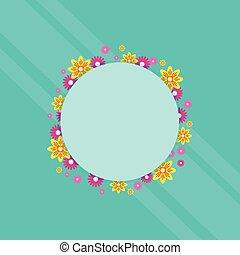 Frame with flower spring theme vector art