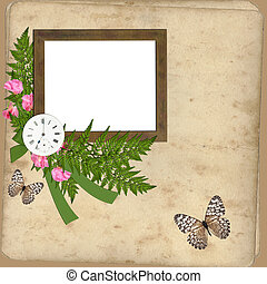 Frame with flowers and clock