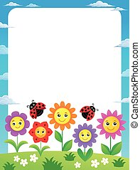 Frame with flowers and ladybugs