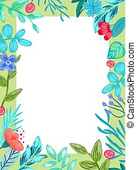 Frame with Flowers and Leaves Vector Illustration