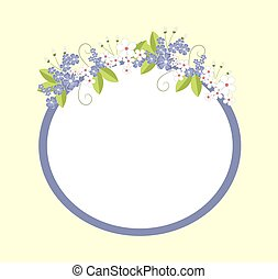 Frame with Flowers in Bloom Vector Illustration