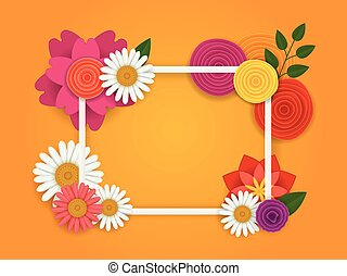 Frame with flowers. vector illustration