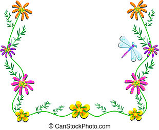 Frame with Flowers, Vines, and Drag - Here is a delicate...