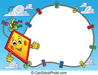Frame with flying cartoon kite - vector illustration.