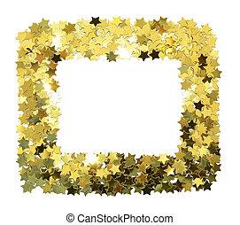 Frame with foil gold stars. Scattered stars border. Natural foiled texture.