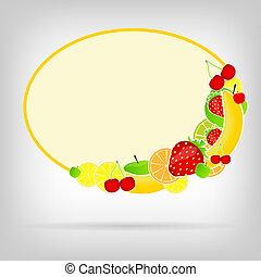 Frame with fresh fruits vector illustration