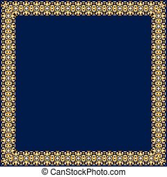 Frame with gold pattern on a blue background