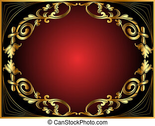 frame with gold pattern on black and red