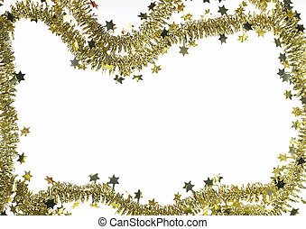 frame with golden christmas garland - background with golden...