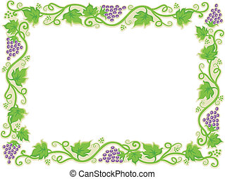 Frame with Grapevine Borders - Illustration of a Frame with...