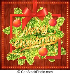 Frame with green fir tree branches, red silky ribbon, bow and golden Merry Christmas sign on wooden background