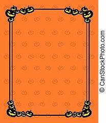 Frame with Halloween pumpkin style