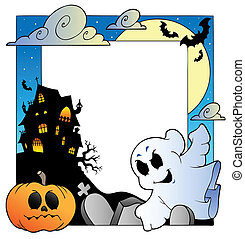 Frame with Halloween topic 1