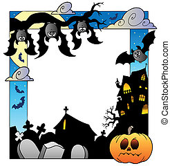Frame with Halloween topic 5 - vector illustration.