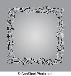 Frame with hand drawn arrows.