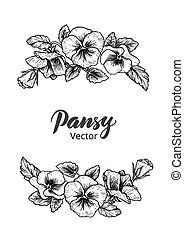 Frame with hand drawn pansy flowers, vector illustration. ...
