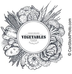 Frame with hand drawn vector farm vegetables in sketch style