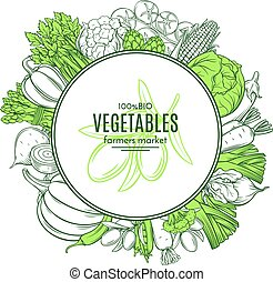 frame with hand drawn vegetables