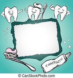 Frame with healthy teeth, toothpaste, toothbrush