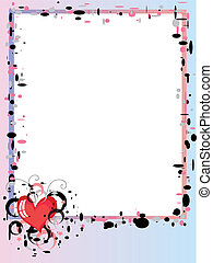 Frame with hearts CMYK