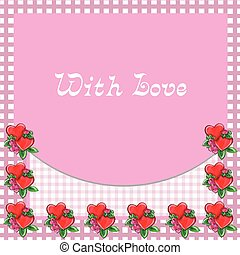 Frame with hearts - pink vector