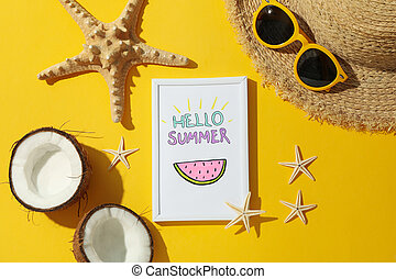 Frame with Hello summer and vacation accessories on yellow background, top view