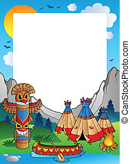 Frame with Indian village - vector illustration.