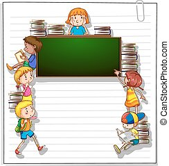 Frame with kids and a blackboard