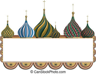 Ornamental frame illustration with Kremlin domes, isolated on white