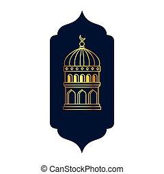 frame with lamp decoration ramadan kareem