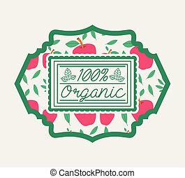 frame with leafs and apples of 100 percent organic food