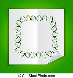 frame with leaves made of cutout paper