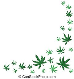 Frame with leaves of marijuana on a white background. Vector graphics